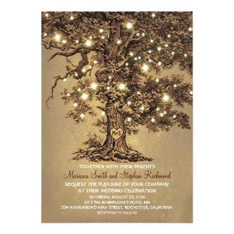 Wedding Card Zazzle by Vintage String Lights Tree Rustic Wedding Invites 5 Quot X 7
