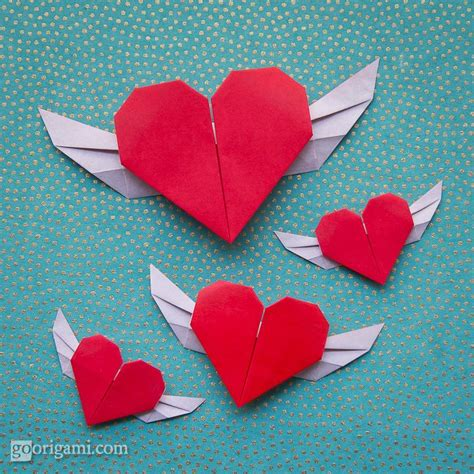 Origami Hearts - flying origami s day origami go origami