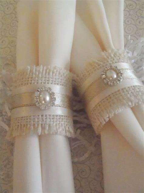 shabby chic napkin rings burlap napkin rings for or weddng shabby chic
