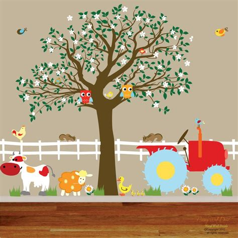 Tree Wall Decals For Nursery Etsy Vinyl Wall Decals Farm Set Tree With By Wallartdesign On Etsy Future Business Ideas