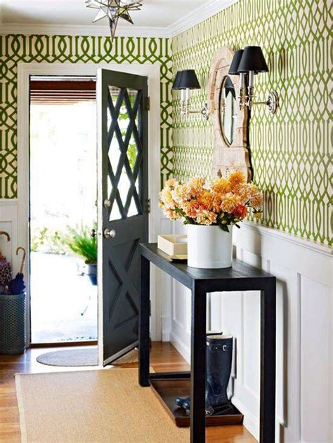 green wallpaper hallway small front hall design with wallpaper and console table
