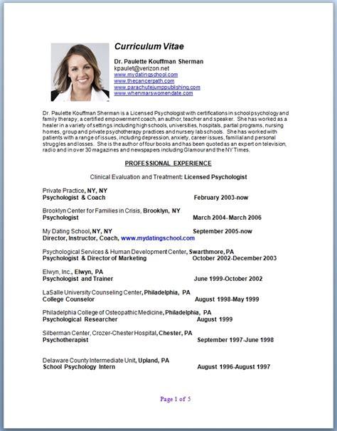 professional curriculum vitae template professional cv curriculum vitae