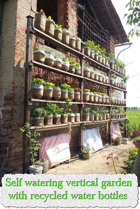 Watering Vertical Gardens Self Watering Vertical Garden With Recycled Water Bottles