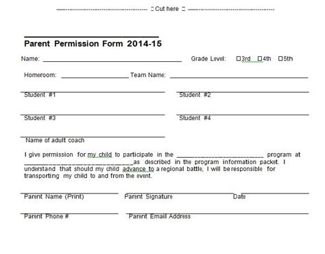 permission slip template 35 permission slip templates field trip forms