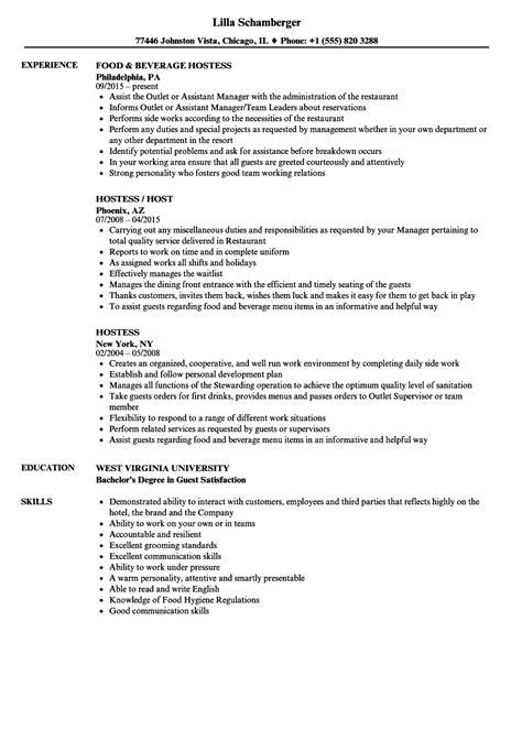 Host Resume by Hostess Resume Sles Velvet