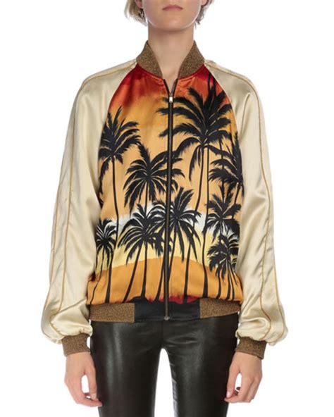 Palm Bomber Jacket laurent palm tree bomber jacket sleeve tie dye degrade t shirt leather w