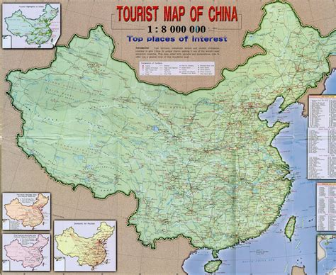 large map of large detailed tourist map of china