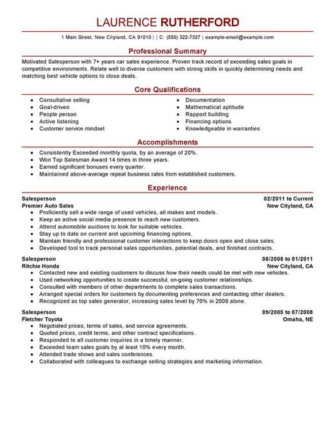 exle resume for salesman best retail salesperson resume exle livecareer