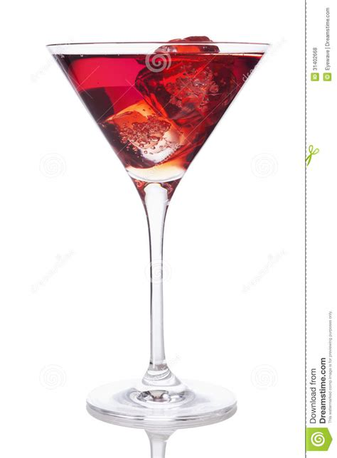 red martini drink red drink in martini glass with ice cubes stock photo