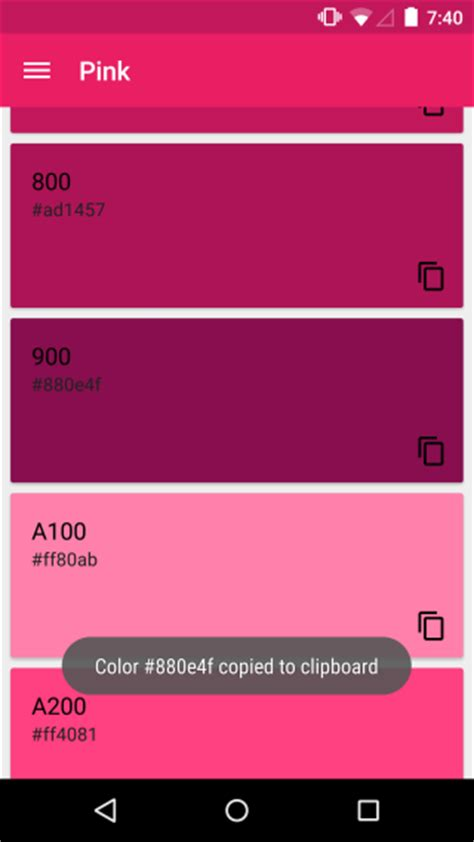 what color is this app material design color palettes suggests colors for your