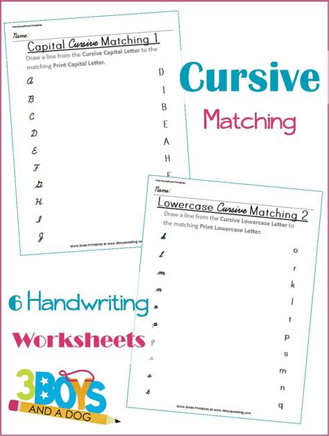printable matching letters worksheets cursive and print letter matching printable worksheets 3