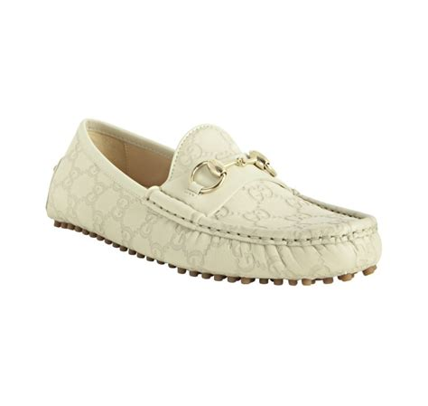 gucci loafers white gucci mystic white ssima leather horsebit loafers in white