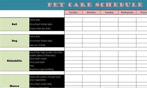 printable puppy daily schedule pet care schedule my excel templates