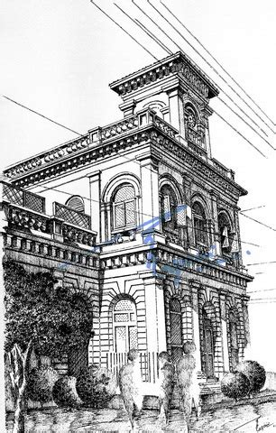 pencil drawings buildings building sketch stock photos edulgee dinshaw building karachi pen and ink sketch