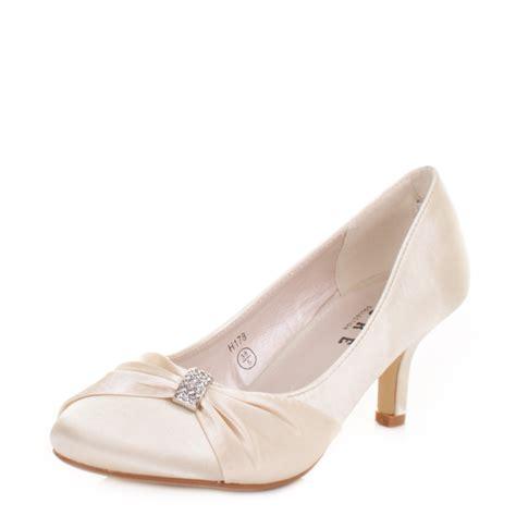 womens low kitten heel bridal wedding ivory satin diamante