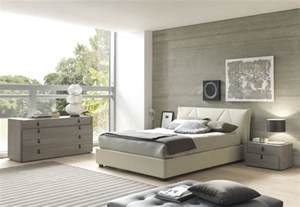 Queen Captains Bed Esprit Modern Eco Leather Bedroom Set In Grey Beige