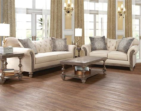 5 Pc Bedroom Set cream sofa set with tufting and wood siam parchment