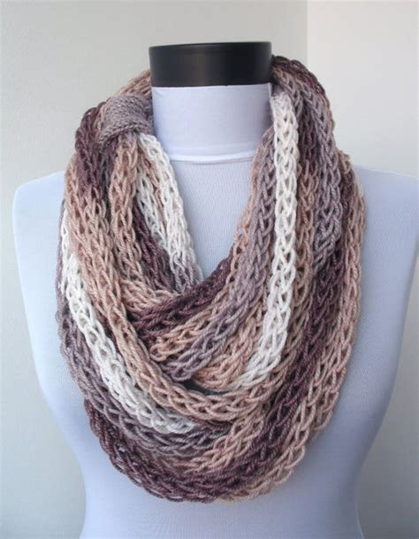 finger knitting ideas scarf necklace loop scarf infinity scarf neck warmer by