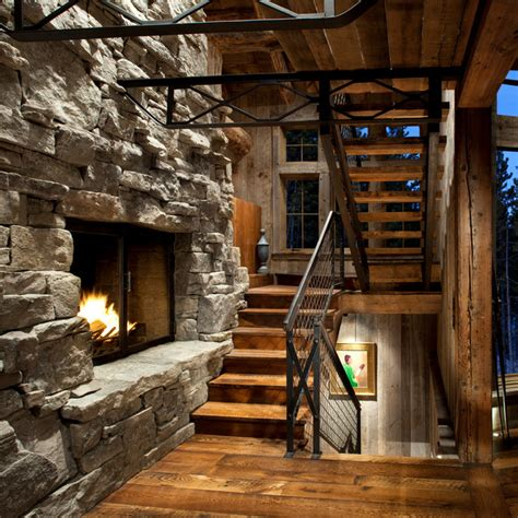 Rustic Fireplace by Staircase Fireplace Rustic Staircase Other Metro