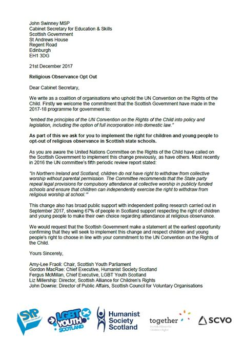 Joint Petition Letter Joint Call To Scottish Government To Respect Youth Choice On Religion And Belief In Schools