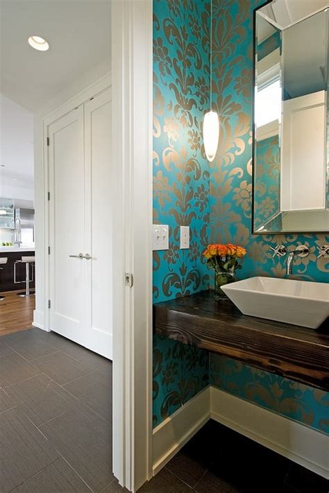 Modern Bathroom Wallpaper Ideas Modern Powder Room With Blue Wallpaper Decoist