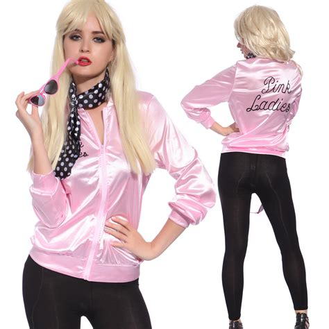 pink lady retro 1950s grease pink ladies lady jacket costume hen