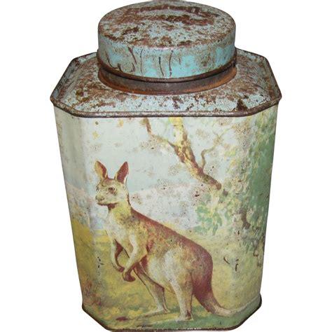 Tea Tin 1 vintage bushnell s tea tin kangaroo koala emu kookaburra from tomjudy on ruby