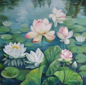 Lotus Flower Painting Lotus Flowers By Oleniuc