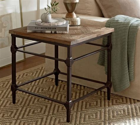 pottery barn end tables parquet reclaimed wood side table pottery barn