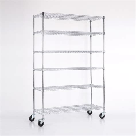 6 tier layer shelf steel wire metal shelving rack chrome