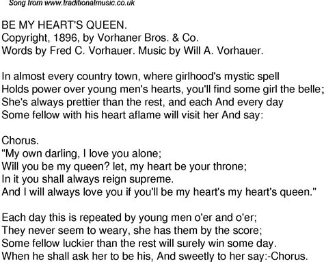 theme song queen of hearts old time song lyrics for 52 be my hearts queen