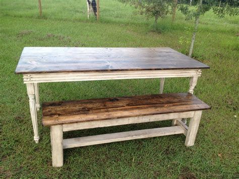 farmers bench farm table with turned legs and one bench
