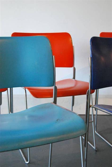 set   stackable metal  chairs  david rowland  stdibs