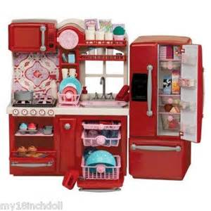 red kitchen furniture made to fit 18 inch american girl doll 96 piece