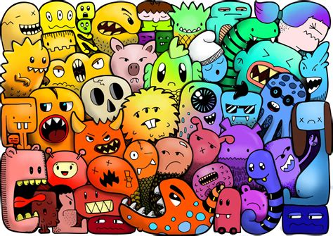 doodle characters monsters colored 3 doodle coloring pages from buntegalerie on etsy