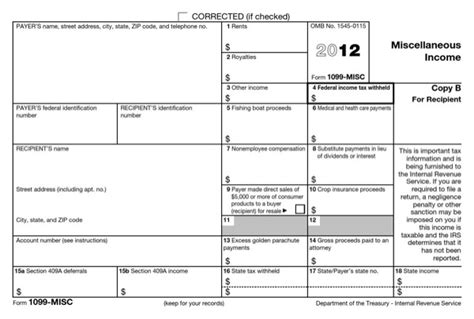 1099 Misc Form 2012 For Free Page 2 Formtemplate Kotaksurat