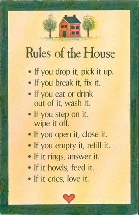 house rules poster rules of the house 7 inches by 10 approx if you