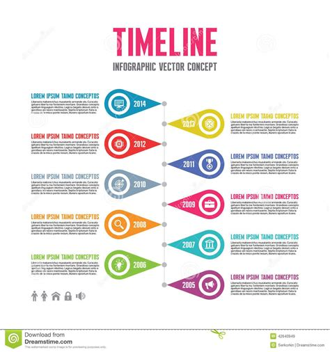 Infographic Vector Concept In Flat Design Style Timeline Template Download From Over 37 Template Ideas