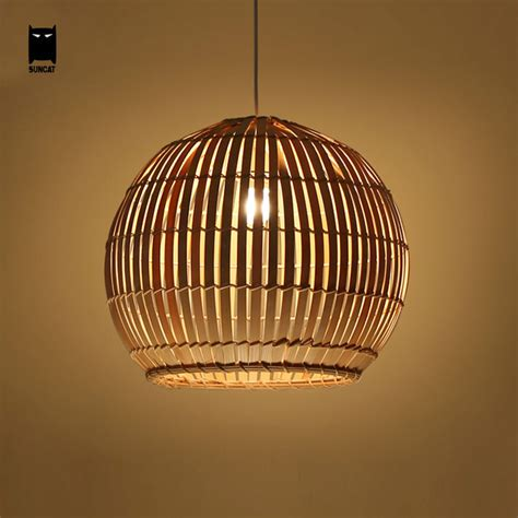 Aliexpress Com Buy Bamboo Wicker Rattan Round Ball Globe Japanese Pendant Lights