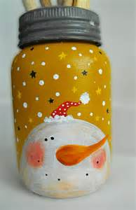 snowman crown mason jar painted reclaimed christmas sale