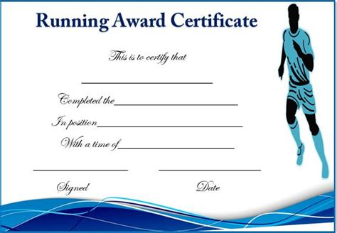 running certificate templates 20 free editable word