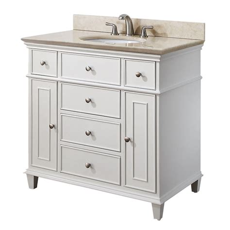 Avanity Windsor 36 inches Bathroom Vanity in White finish with Galala Beige Marble top and Sink