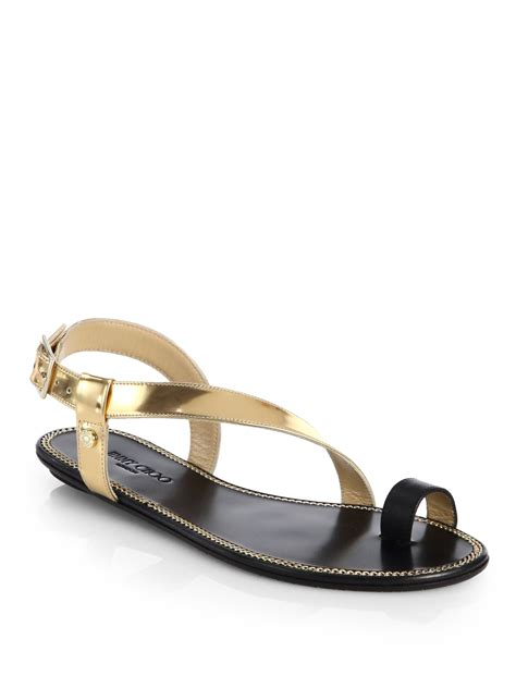 toe sandals lyst jimmy choo neru mirror leather toe ring sandals in
