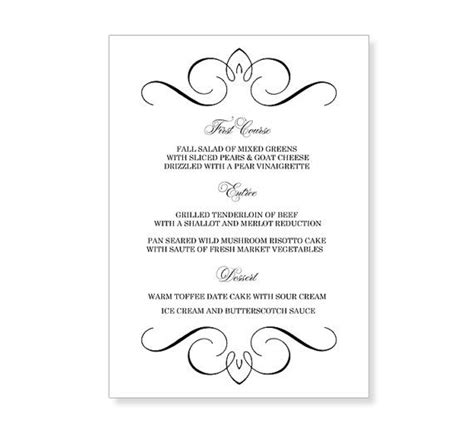 wedding menu sles templates wedding menu template printable instant for