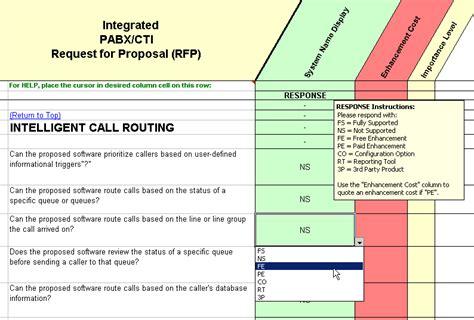 Cti Call Center Software Selection Rfp Call Center Rfp Template