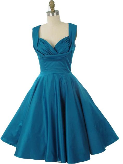 Vintage Inspired Teal Blue Swing Dress 50s Style Party Dresses