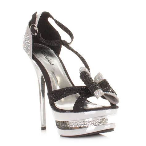 womens black satin diamante platform bow prom shoes