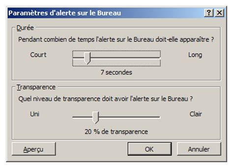 comment afficher outlook sur le bureau