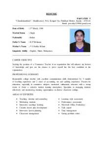 Resume Format For Teachers In India by Resume 1