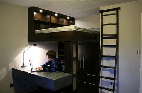 Bed And Desk For Small Room Small Bedroom Design Idea With A Loft Bed And Work Space Below Decoist